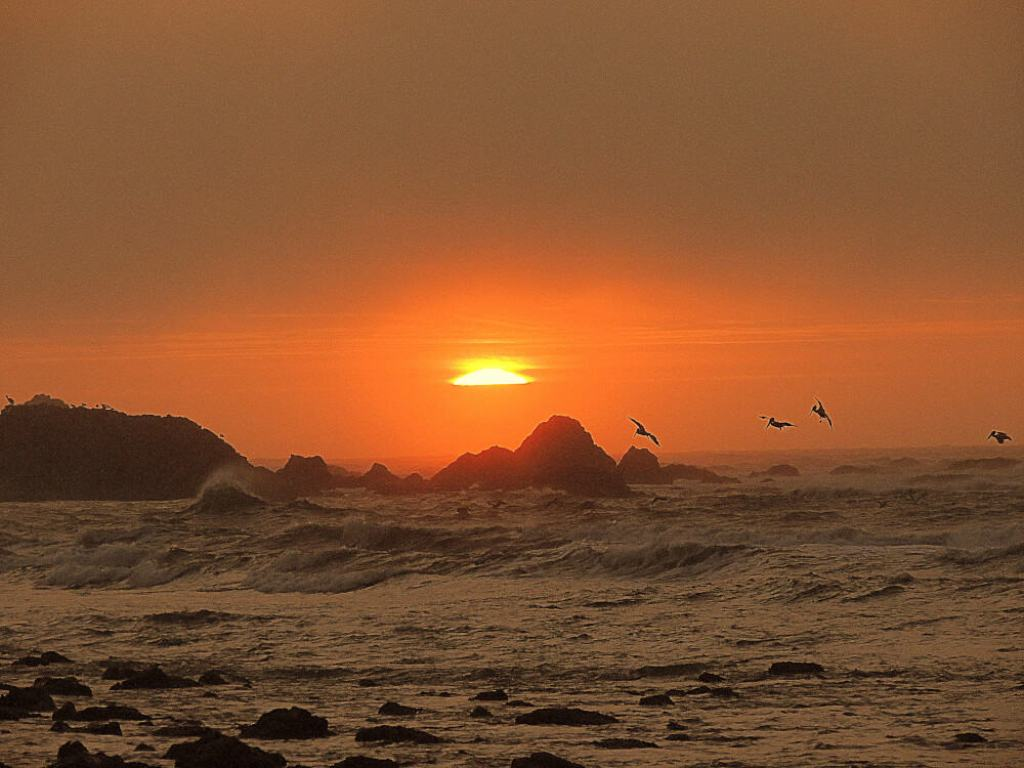 A sunset over the Pacific Ocean during a couples road trip.