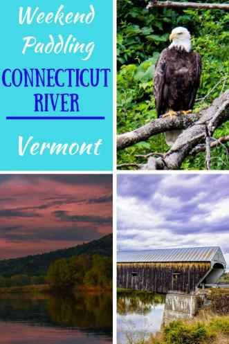A collage of shots - a bald eagle, covered bridge, and sunset - all taken on the Connecticut River