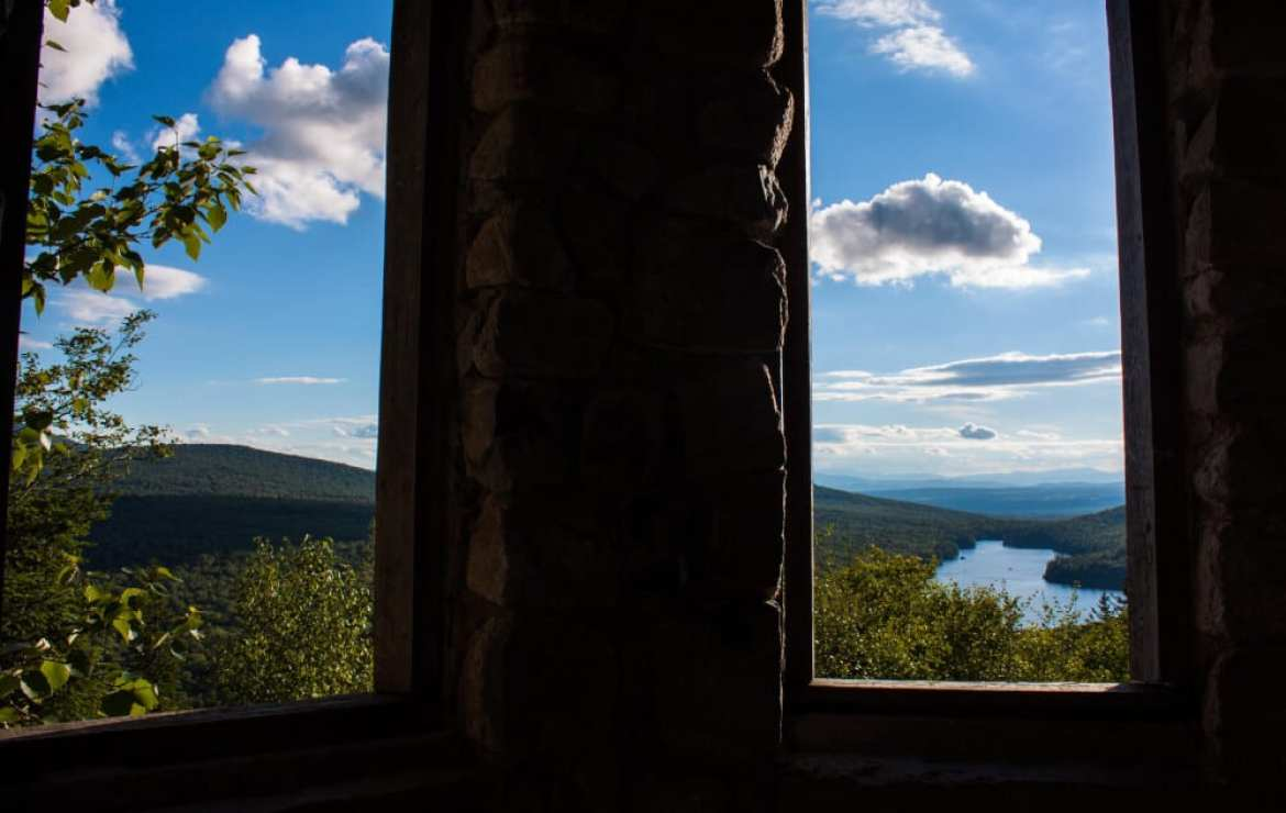 A view of Kettle pond from Owl's Head in Groton State Forest, Vermont