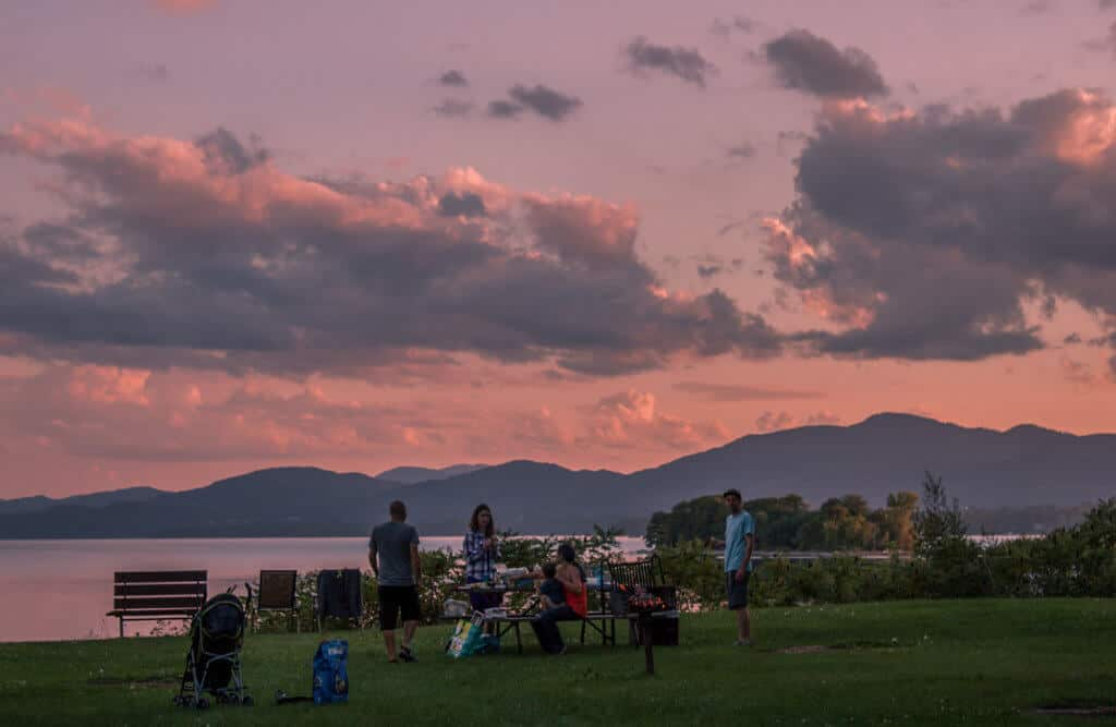 The sunset over Lake Champlain from the Button Bay Campground