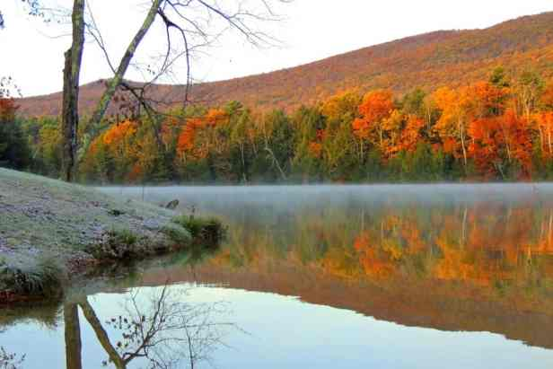 An autumn view from the beach at Lake Shaftsbury State Park. These are our best hikes for kids in Southern Vermont