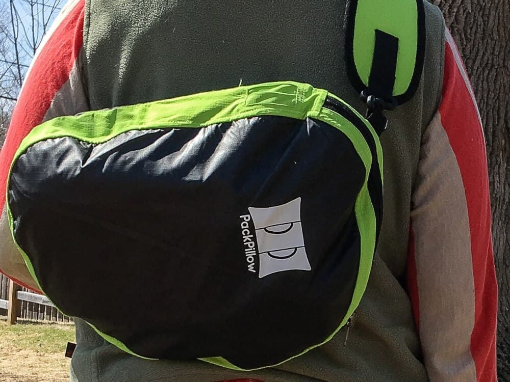 A close up shot of the PackPillow. It's a backpack and a pillow!