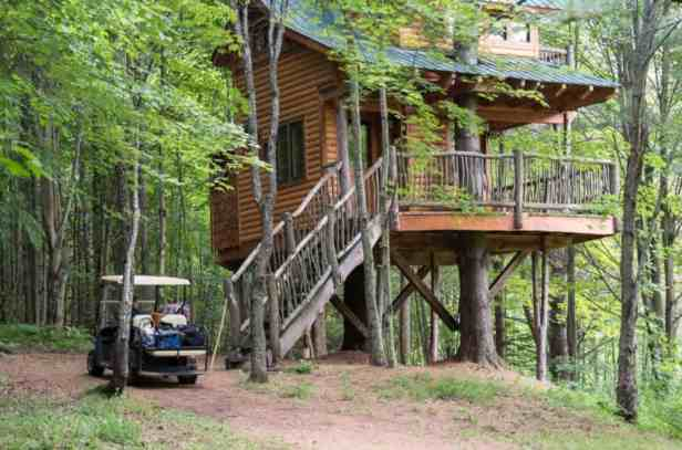 Our first view of a magical Vermont treehouse