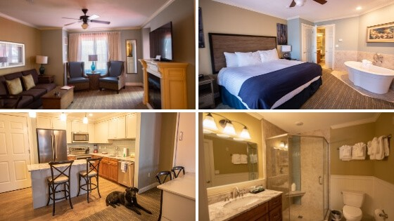 A college of interior shots from the RiverWalk Resort at Loon Mountain