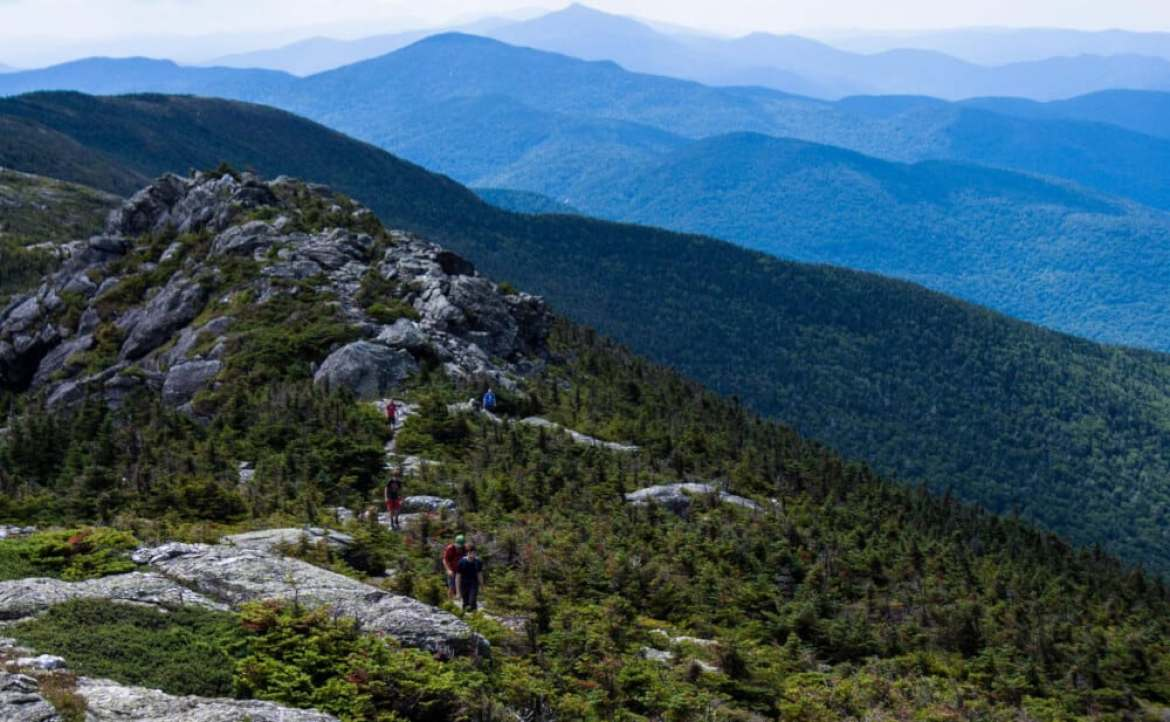 An afternoon view of the Long Trail along the spine of Mt. Mansfield in Stowe
