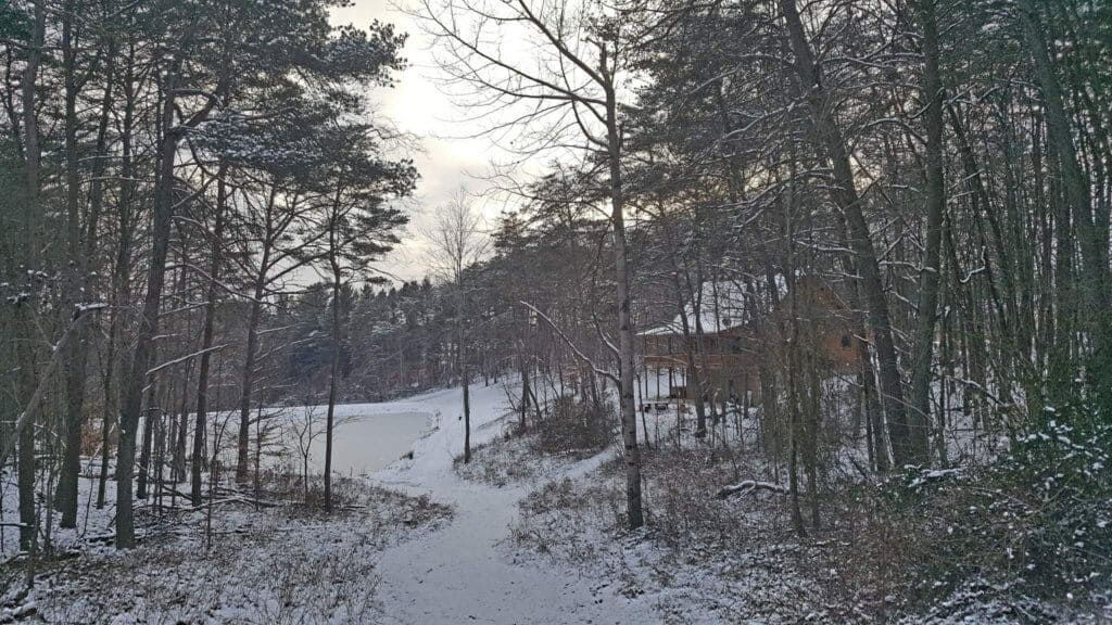A dusting of snow in Hocking Hills, Ohio. Photo credit: Tony Prater