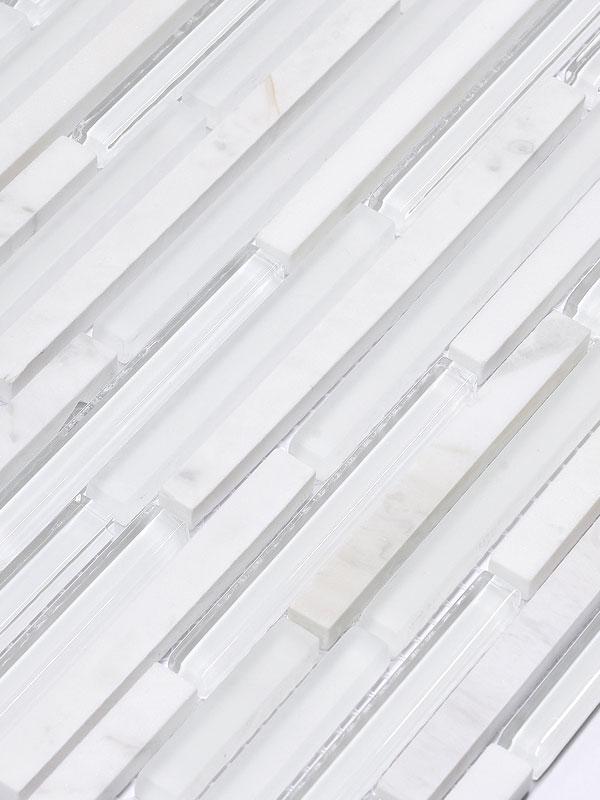 BA1154 Modern White Glass Marble Backsplash Tile