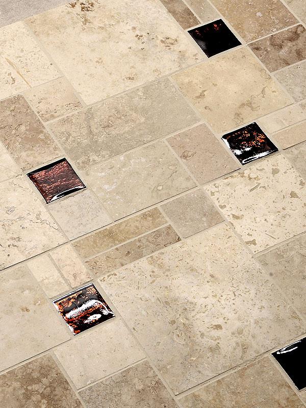 Travertine Tile Dark Brown Glass Backsplash Tile Ideas