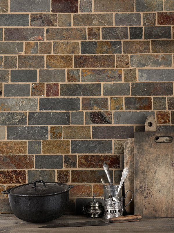Brown gray rustic slate mosaic backsplash tile from BA1063