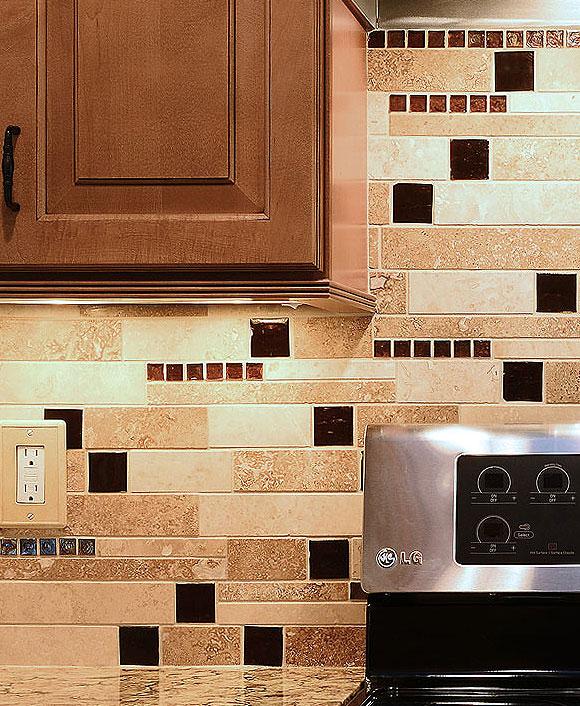 Kitchen No Backsplash: BROWN GLASS TRAVERTINE Mix Backsplash Tile For Traditional