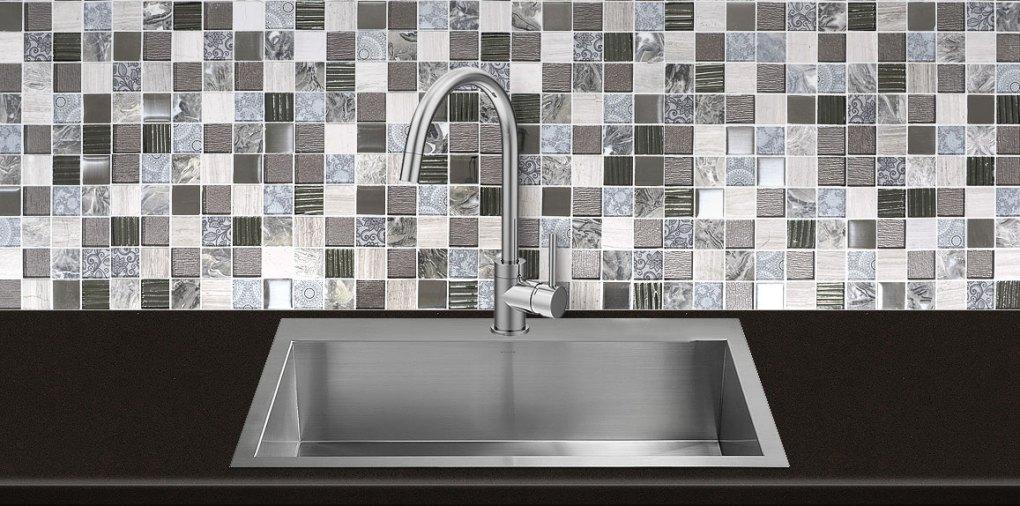 Gray Glass Marble Backsplash Tile Dark Brown Quartz Countertop