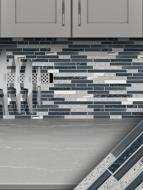 Gray Blue Quartz Glass Kitchen Backsplash Tile Cabinet Cambria Countertop BA62037