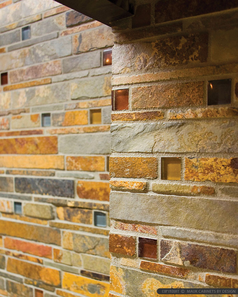 Brown Gold Gray Subway Slate Glass Backsplash Tile
