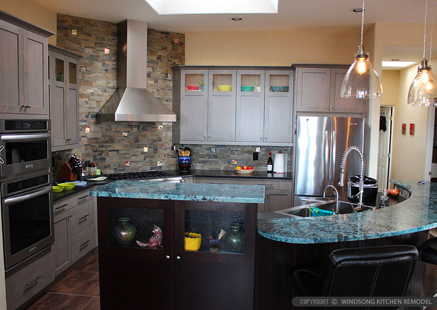 Slate Glass Brown Gray Mosaic Backsplash Tile