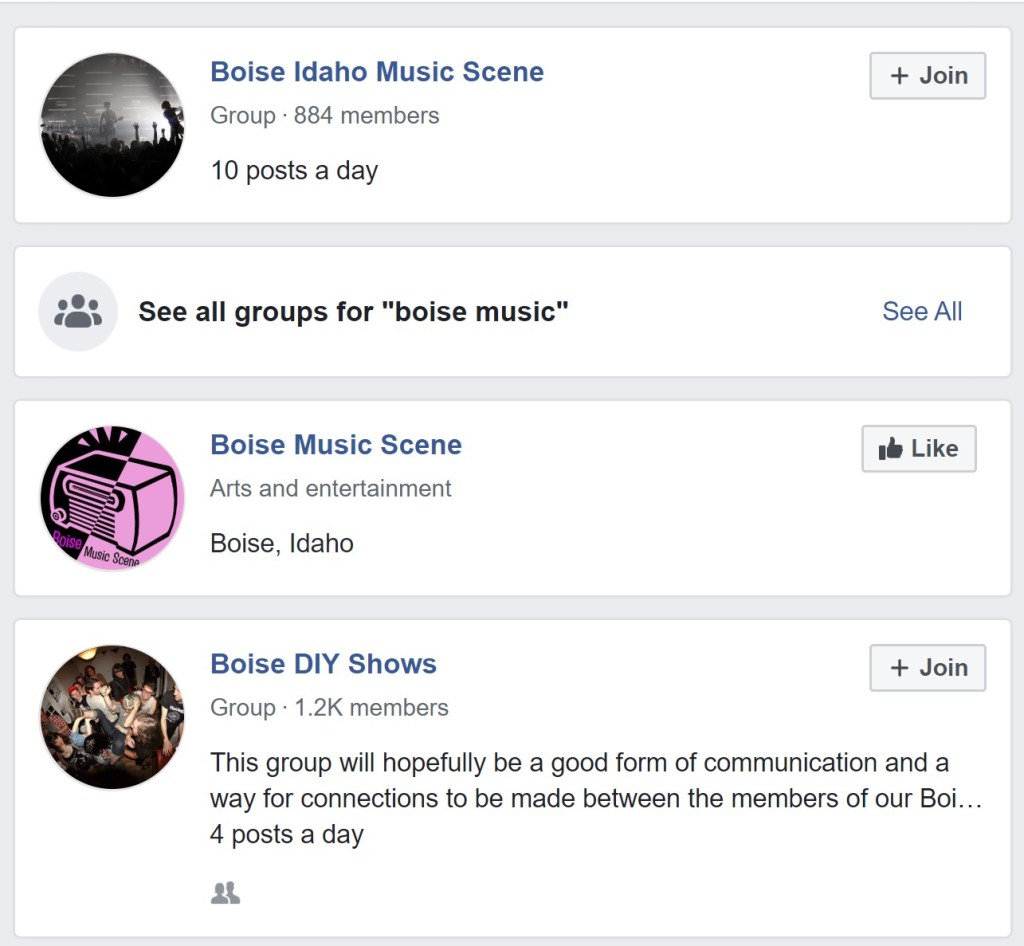 Boise Idaho has local music groups on Facebook