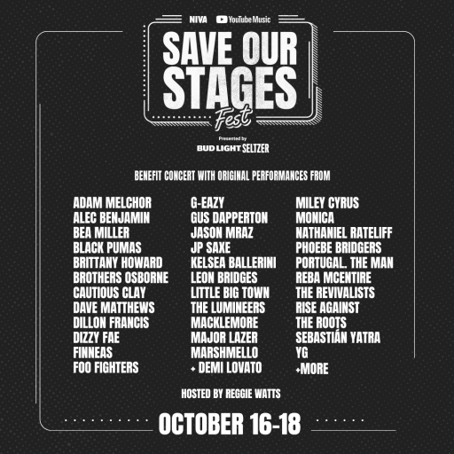 Save Our Stages Fest had artists such as Dave Matthews, Foo Fighters, Jason Mraz, The Lumineers, Miley Cyrus, Rise Against, and more!