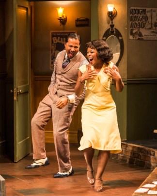 """Jason Dirden and Nija Okoro in August Wilson's """"Ma Rainey's Black Bottom,"""" at Center Theatre Group/Mark Taper Forum. Photo by Craig Schwartz."""
