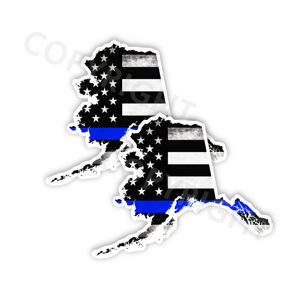 Thin Blue Line Alaska Bumper Stickers