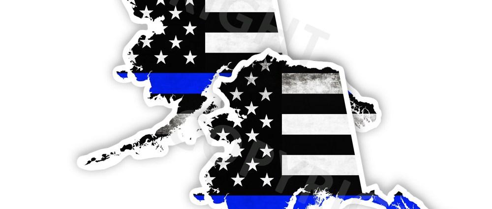 Thin Blue Line Alaska Bumper Stickers