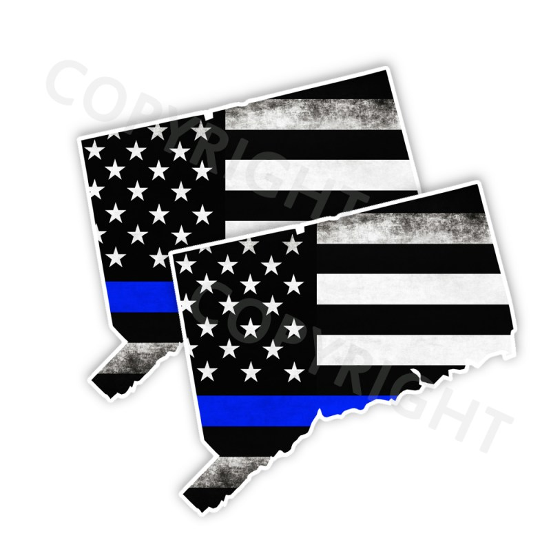 Thin Blue Line Connecticut Bumper Stickers