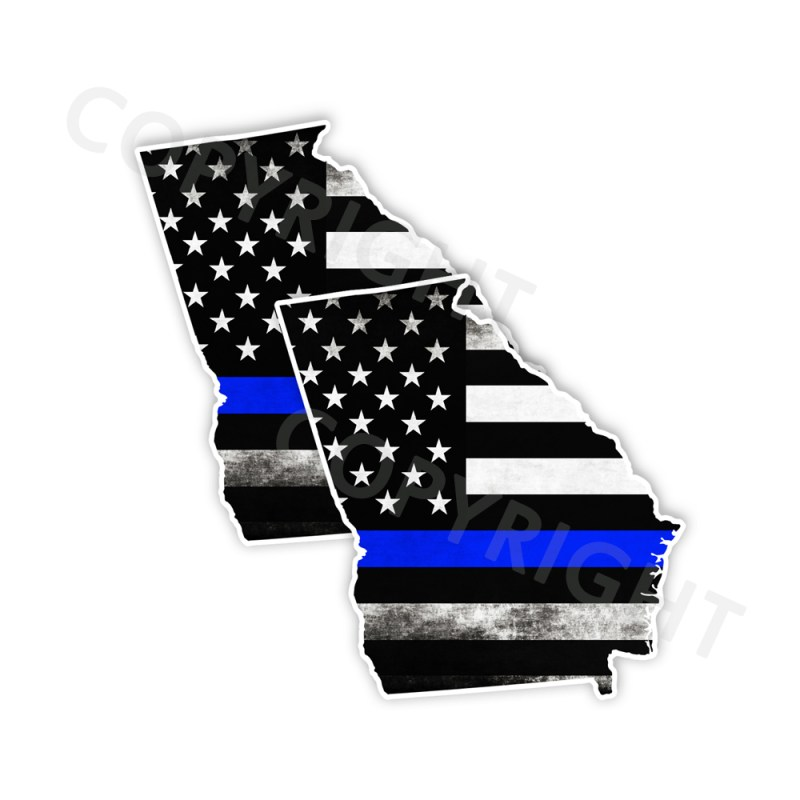 Thin Blue Line Georgia Bumper Stickers