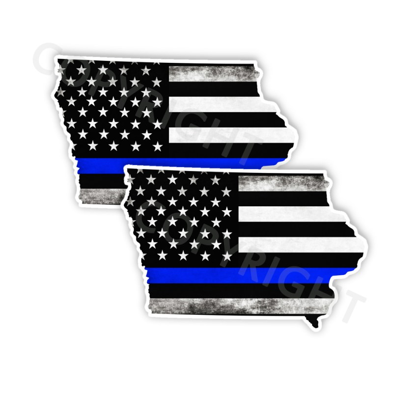 Thin Blue Line Iowa Bumper Stickers