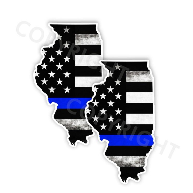 Thin Blue Line Illinois Bumper Stickers