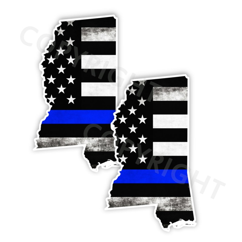 Thin Blue Line Mississippi Stickers