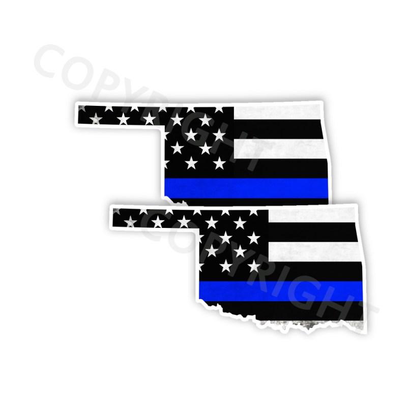 Thin Blue Line Oklahoma Bumper Stickers