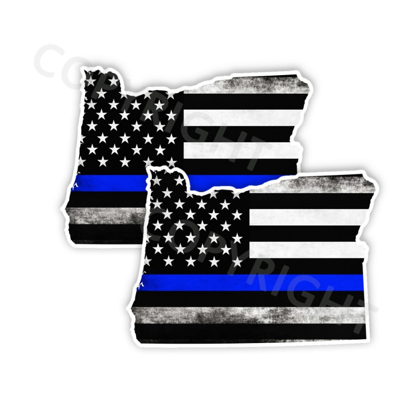 Thin Blue Line Oregon Bumper Stickers