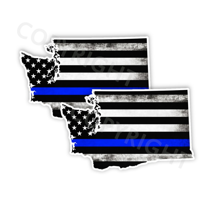 Thin Blue Line Washington Stickers
