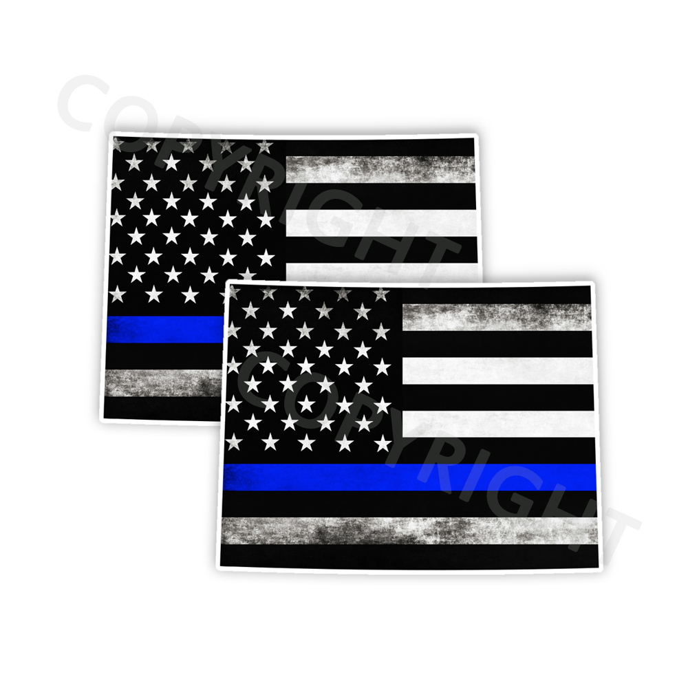 Thin Blue Line Wyoming Stickers