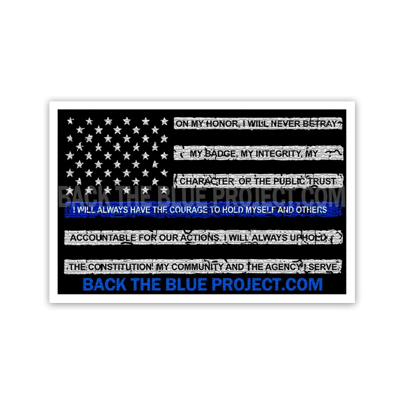 Thin Blue Line Flag - On My Honor Stickers