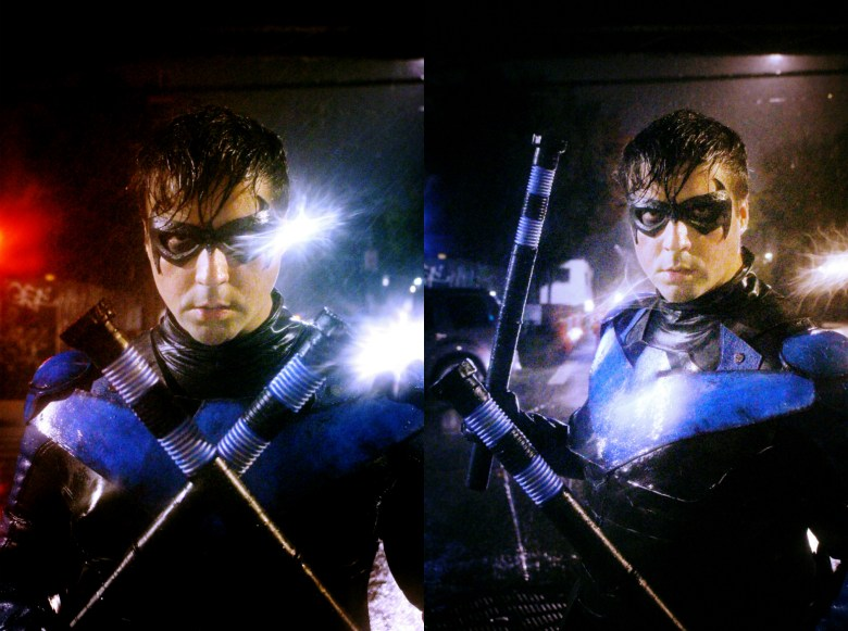 Nightwing is drenched by the rain.