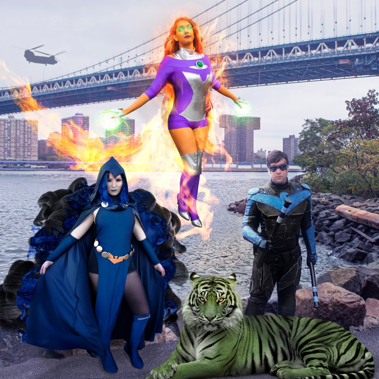 Raven, Beast Boy, Starfire and Nightwing in a battle pose.