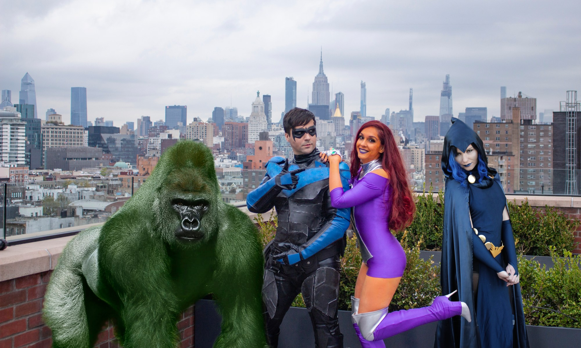 Beast Boy, Nightwing, Starfire, and Raven in family photo.