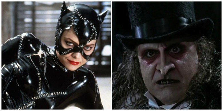 "Catwoman and Penguin from ""Batman Returns""."