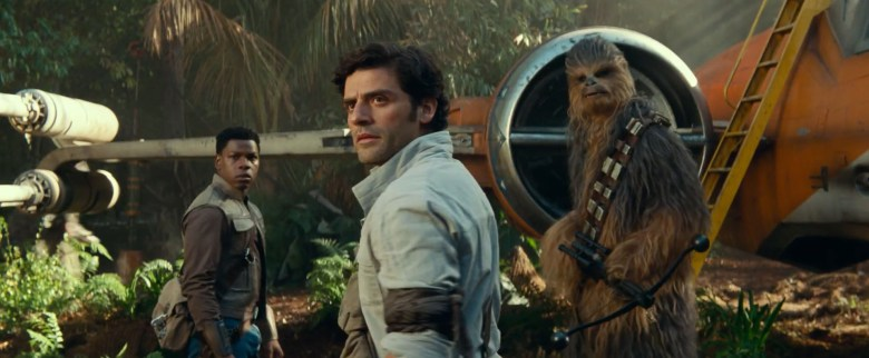 "Finn, Poe, and Chewbacca in ""Star Wars: The Rise of Skywalker""."