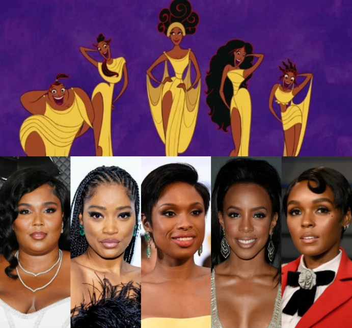 Lizzo as Thalia, Keke Palmer as Clio, Jennifer Hudson as Calliope, Kelly Rowland as Melpomene, and Janelle Monáe as Terpsichore