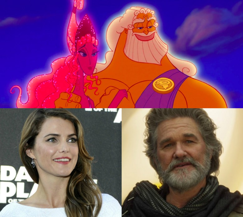Keri Russell as Hera and Kurt Russell as Zeus