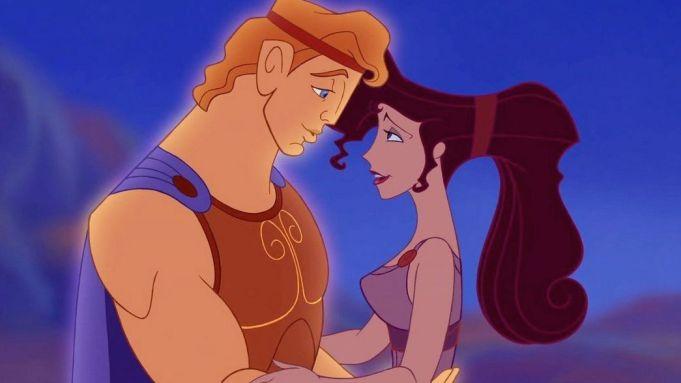 Hercules and Megara embrace.