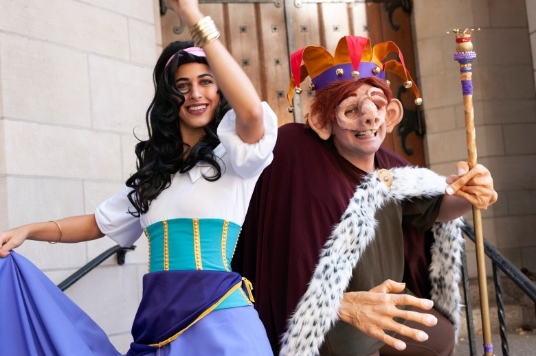 Andrea Arreaza as Esmeralda and Brendan McWhirk as Quasimodo