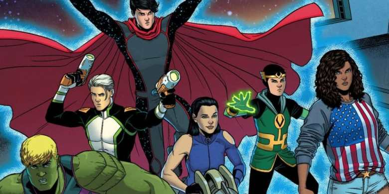 The Young Avengers. Hulkling, Speed, Wiccan, Hawkeye, Kid Loki, and Miss America.
