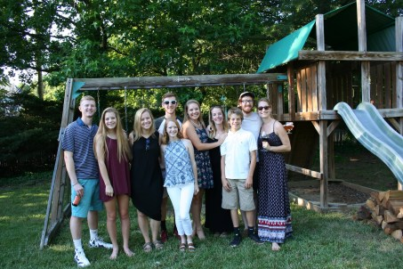 Cousins gather for a grad party
