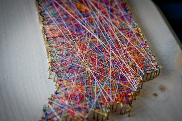 Nail String Art World Map Ideas