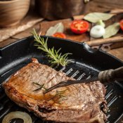 Grilled Steak in Rosemary Port Sauce with Blue Cheese