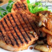 Grilled Smoked Pork Chops with Balsamic Onions