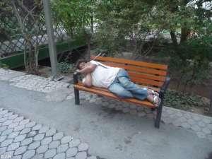 Guy sleeping on Friday morning
