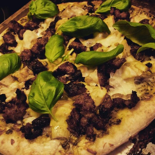 Sausage Pesto Pizza