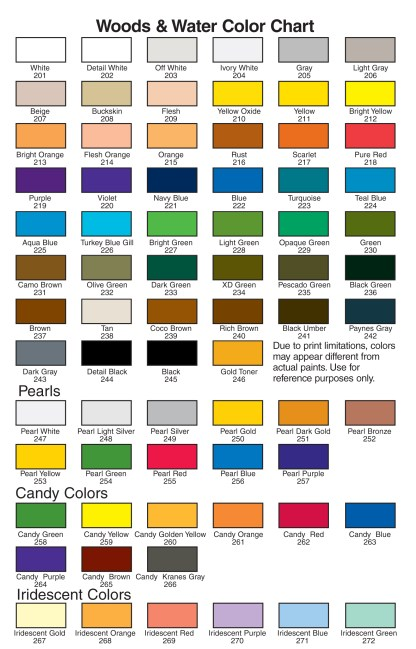 woods and water color chart